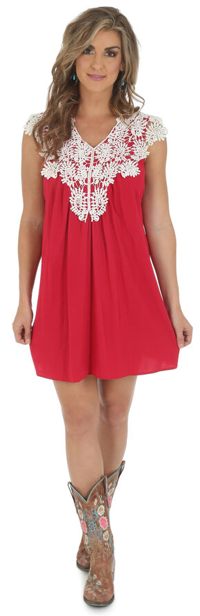 Wrangler Women's Sleeveless Crocheted Trim Dress, Red, hi-res