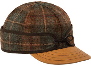Stormy Kromer Men's Leather Brim Original Cap, Brown, hi-res