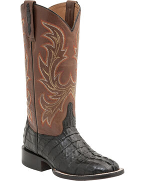 Lucchese Handcrafted 1883 Women's Lexie Hornback Caiman Tail Boots - Round Toe, Black, hi-res