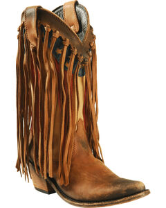 Liberty Black Brown American Flag Fringe Cowgirl Boots - Pointed Toe, , hi-res