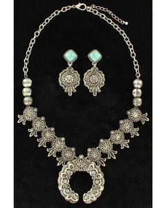 Blazin Roxx Women's Squash Blossom Jewelry Set , Silver, hi-res