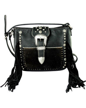Montana West Black Trinity Ranch Tooled Hair-On Leather Crossbody, Black, hi-res