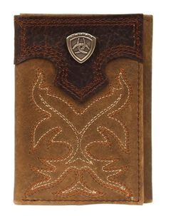 Ariat Boot Stitched Tri-fold Wallet, , hi-res