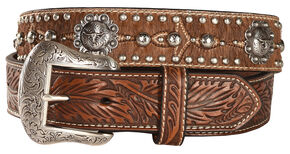 Nocona Longhorn Berry Concho Hair-on-Hide Belt, Tan, hi-res