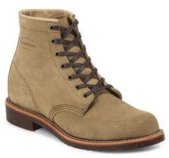 "Chippewa Men's 6"" Lace-Up Khaki Suede Service Boots - Round Toe, , hi-res"