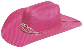 Twister Youth Crystal Tiara Pink Straw Cowgirl Hat, Pink, hi-res
