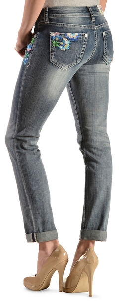 Grace in LA Women's Floral Embroidered Skinny Jeans , , hi-res