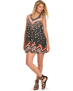 Derek Heart Print Crochet Back Trapeze Dress , , hi-res