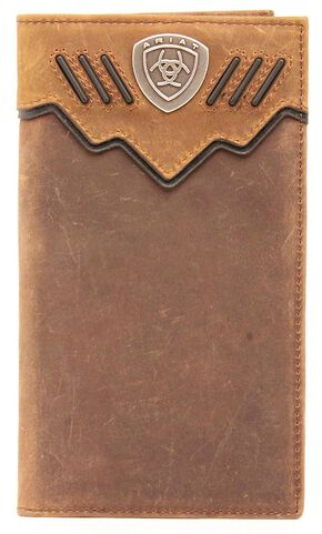Ariat Logo Concho Rodeo Wallet, Med Brown, hi-res