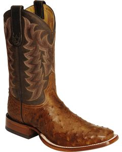 Tony Lama Full Quill Ostrich Vintage Cowboy Boots - Square Toe, Chocolate, hi-res