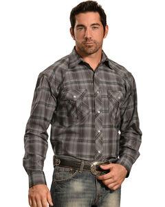 Crazy Cowboy Men's Grey Tonal Plaid Western Snap Shirt  , , hi-res