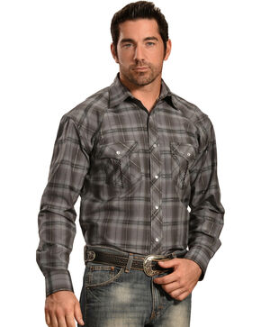 Crazy Cowboy Men's Grey Tonal Plaid Western Snap Shirt  , Grey, hi-res
