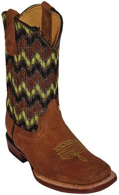 Ferrini Boys' Green Chevron Cowboy Boots - Square Toe, , hi-res