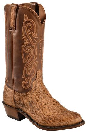 Lucchese Dark Brown Quilled Ostrich Boots - Round Toe , Dark Brown, hi-res