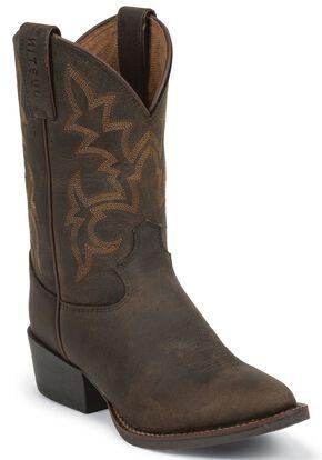 Justin Boys' Cowboy Boots - Round Toe, Brown, hi-res