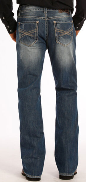 Rock and Roll Cowboy Double Barrel Abstract Jeans - Boot Cut , Indigo, hi-res