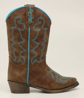 Blazin Roxx Girls' Caroline Cowgirl Boots - Snip Toe, Brown, hi-res