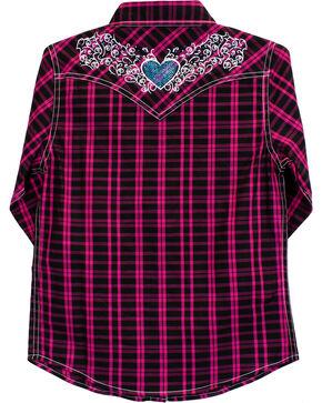 Cowgirl Hardware Girls' Tonal Heart Long Sleeve Plaid Snap Shirt, Black, hi-res