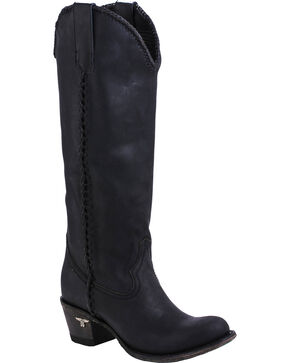 Lane Plain Jane Black Cowgirl Boots - Round Toe , Black, hi-res