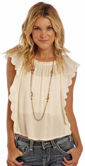 Panhandle Slim Women's Cream Eyelet Flange Shirt , Cream, hi-res