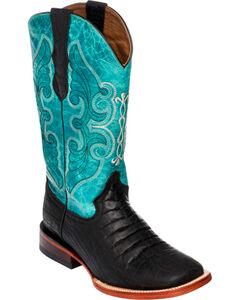 Ferrini Women's Black Belly Print Cowgirl Boots - Square Toe, , hi-res