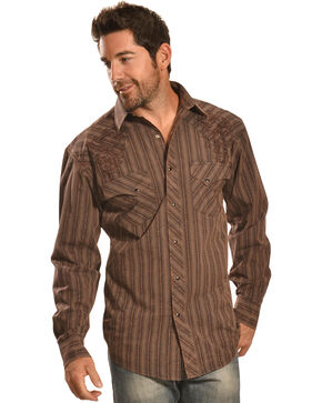 Crazy Cowboy Men's Brown Stripe Snap Shirt, Multi, hi-res