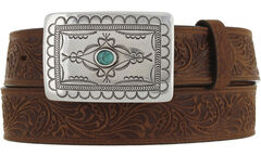 Tony Lama Navajo Spirit embossed leather belt, , hi-res