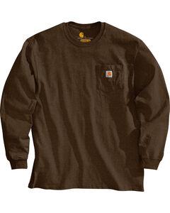 Carhartt Pocket Long Sleeve Work T-Shirt, Dark Brown, hi-res