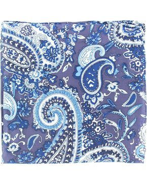 Blue & White Paisley Silk Wild Rag, Blue, hi-res
