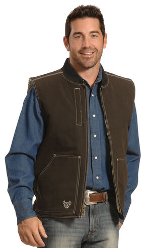 Cowboy Hardware Men's Brown Steer Skull Vest , Brown, hi-res