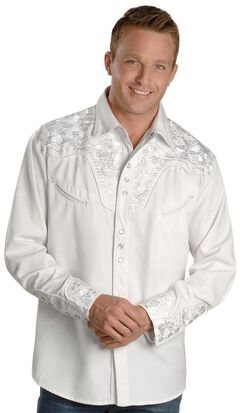 Scully White Floral Embroidery Retro Western Shirt - Big & Tall, , hi-res