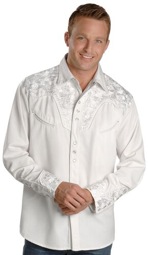 Scully White Floral Embroidery Retro Western Shirt, White, hi-res