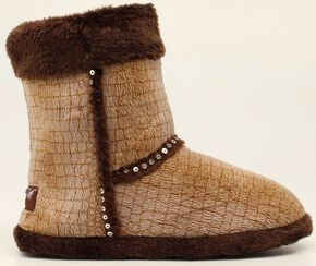 Blazin Roxx Plush Brown Sequin Slipper Booties, Brown, hi-res