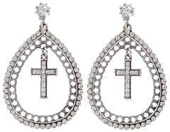 Shyanne Women's Rhinestone Teardrop Cross Earrings, Silver, hi-res