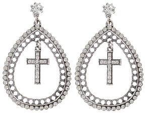 Shyanne Women's Rhinestone Teardrop Cross Earrings, Silver, hi-res