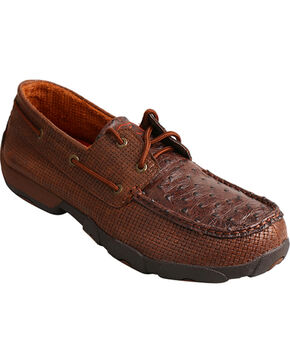 Twisted X Men's Brown Textured Driving Moccasins - Moc Toe , Brown, hi-res