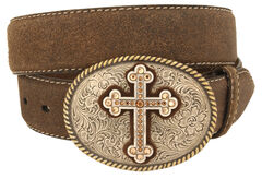 Nocona Cross Vintage Distressed Leather Belt, , hi-res