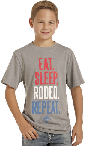 Panhandle Slim Boys' Grey Eat Sleep Rodeo Repeat Tee , Grey, hi-res