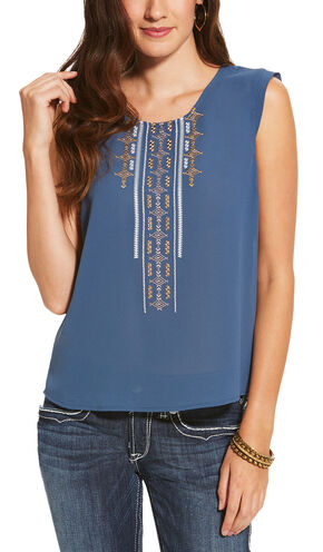 Ariat Women's Blue Italy Top, Blue, hi-res