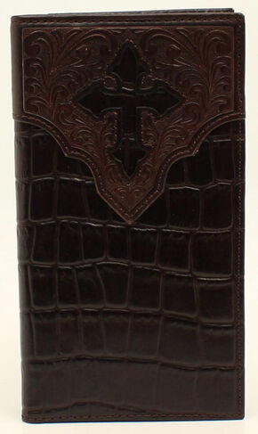 Ariat Croc and Cross Overlay Rodeo Wallet, Brown, hi-res