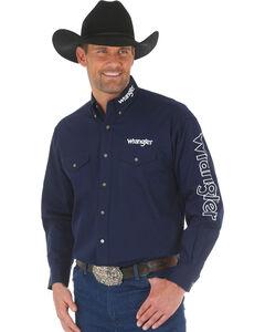 Wrangler Men's Navy Western Logo Long Sleeve Shirt - Big and Tall , Navy, hi-res