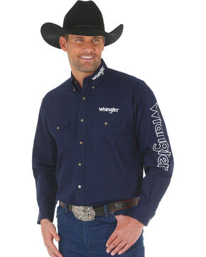 Wrangler Men's Navy Western Logo Long Sleeve Shirt - Big and Tall , Navy, hi-res