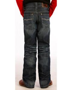 "Rock and Roll Cowboy Boys' Dark Wash Running ""V"" Jeans, , hi-res"