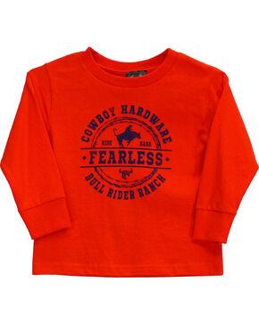 Cowboy Hardware Toddler Boys' Fearless Bull Rider Long Sleeve Tee (6MO-4T), Orange, hi-res