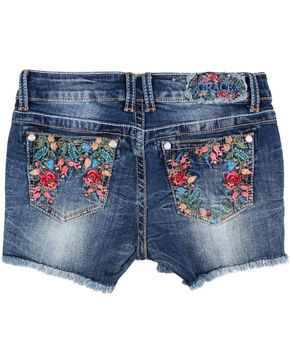 Grace in LA Blue Girls' Floral Embroidered Stitch Shorts , Blue, hi-res