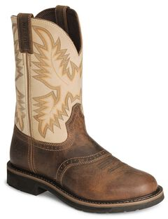 Justin Stampede Waxed Brown Saddle Waterproof Work Boots - Soft Round Toe, , hi-res