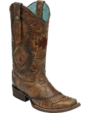 Corral Cognac Multi-Color Aztec Whip Stitch Cowgirl Boots - Square Toe, Cognac, hi-res
