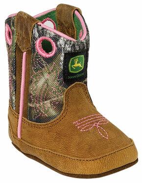 John Deere Infant Girls' Johnny Popper Camo Western Crib Boots, Tan, hi-res