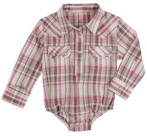 Wrangler Infant Girls' Pink Plaid Onesie , Pink, hi-res
