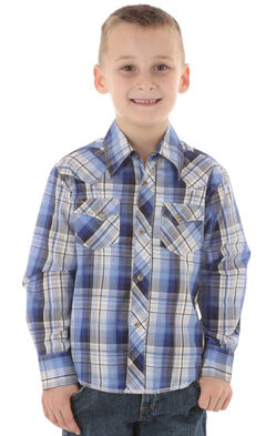 Wrangler Boys' Blue Plaid Western Fashion Snap Shirt, , hi-res